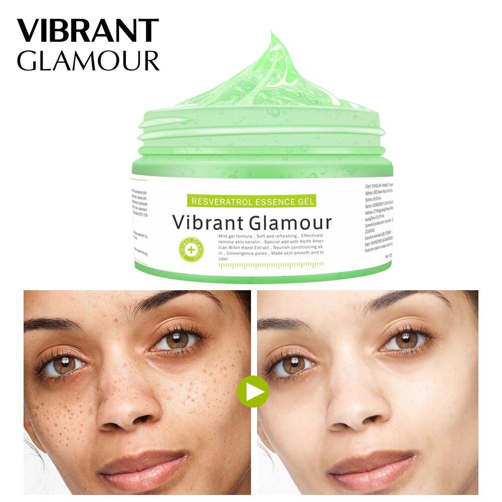 Vibrante GLAMOUR RESVERATROL esencia Gel máscara Facial de limpieza de la piel blanqueamiento hidratante Anti envejecimiento cuidado de la piel VG-MB011