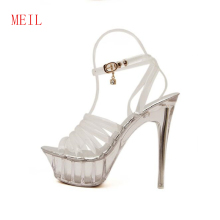 2019 Transparent Heels Women Sandals Summer Sexy Crystal Shoes Thin 14CM Wedding High Open Toe
