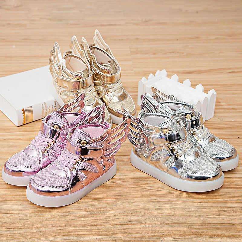 HH/детская обувь; светильник; модные детские светящиеся кроссовки; обувь для маленьких мальчиков и девочек; парусиновая обувь на плоской подошве с крыльями; Весенняя детская обувь; светильник