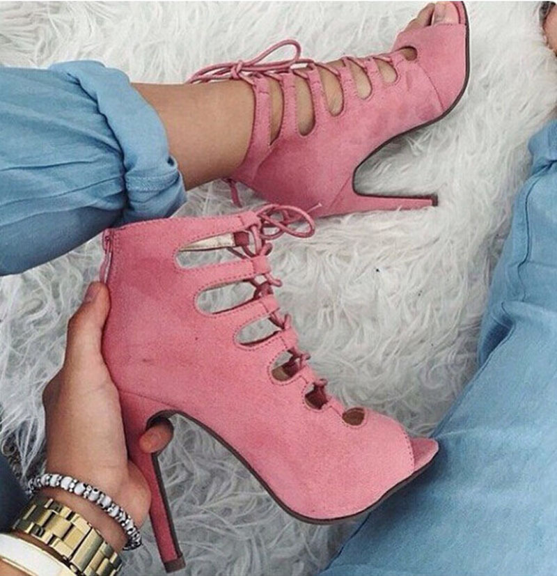 newest pink suede leather peep toe cut-outs high heel gladiator sandal shoes woman fashion lace up ankle summer boots high quality suede leather strappy sandal high heel cut out ankle strap lace up summer dress shoes zapatos dress shoes for women