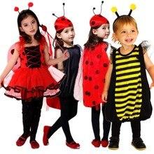 Envío gratis kids fancy dress trajes niños niñas mariquita bee cosplay de hadas ropa de carnaval de la mascarada(China (Mainland))