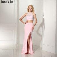 JaneVini розовый Сторона Разделение Длинные жемчуг платья подружек невесты бисером шифон 2 шт. Русалка Свадебная вечеринка платье с открытой сп