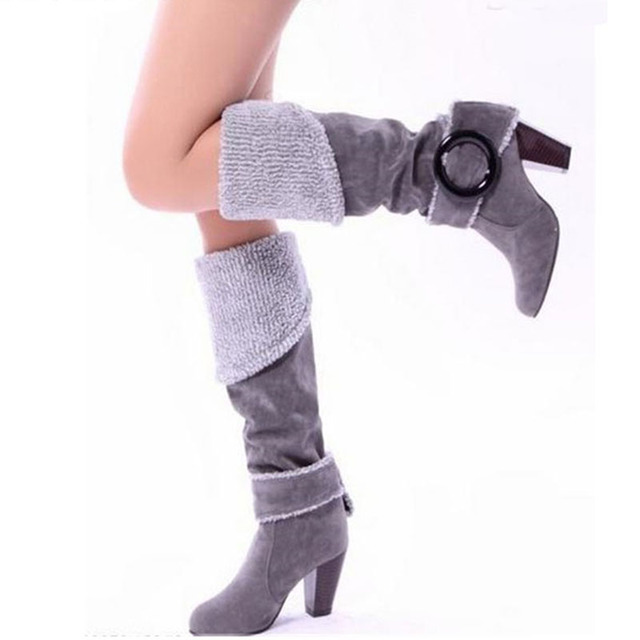 COVOYYAR 2019 Flock Knee High Boots Fashion Buckle Women Boots Thick High Heel Winter Shoes Woman Big Sizes 34~43 WBS105 1