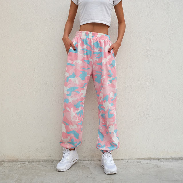 5c42cbe51f0c7 Pink camouflage pants for women Camo Cargo pants High Waist leggings Casual  baggy runners printing Pockets