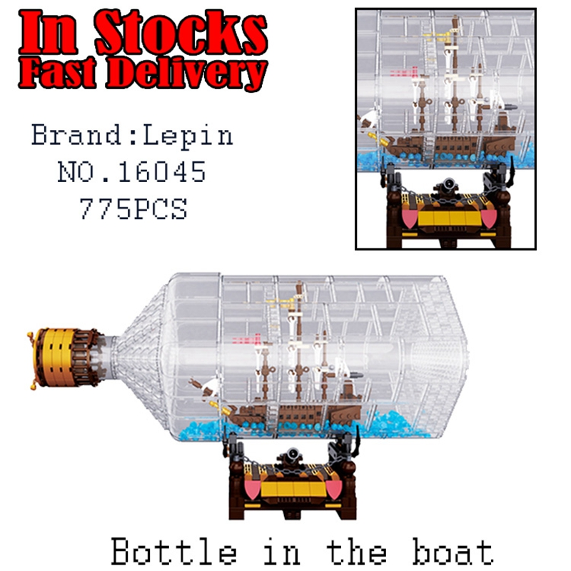 Lepin 16045 775pcs Pirate The Ship in the Bottle Mini Black Pearl Set Building Blocks Bricks Toys for children gifts brinquedos dhl lepin 16006 pirates of the caribbean the black pearl 16045 the ship in the bottle set building blocks bricks toys model