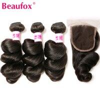 Beaufox Brazilian Hair Weave Bundles Loose Wave Bundles With Closure 4 Pc Lot Deals Human Hair