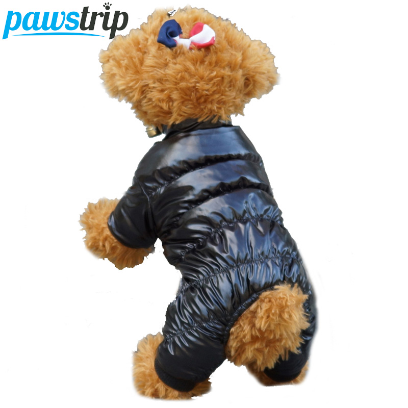 Warna Pepejal Anjing Pakaian Winter Soft Fleece Lining Warm Puppy Jumpsuit Saiz Coat 8-18