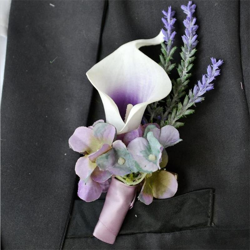 4pieces Lot Purple Calla Lily Flower Corsage Groom Groomsman Wedding Party Man Suit Decoration Men Boutonniere In Artificial Dried Flowers