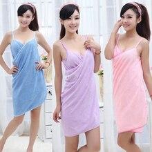 Hot Selling New Sexy V Neck Women Beach Towel Soft Microfiber Fabric Pink Wearable Bath Towels Super Absorbent Girl Bathrobe