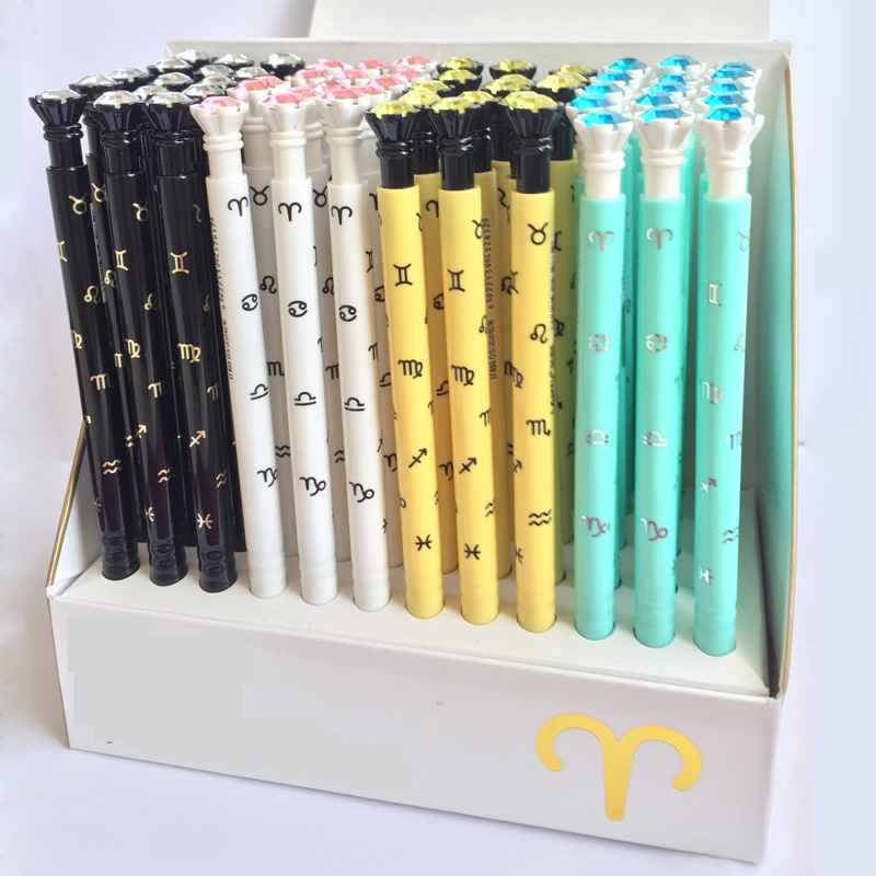 60 Pcs/lot Diamonds Constellation Plastic Mechanical Pencil Automatic Pen For Kid School Office Supply