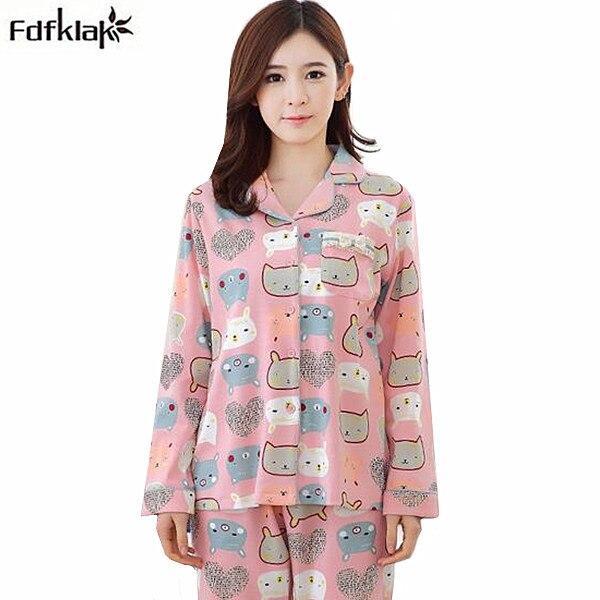 Cotton pajamas women plus size winter sleepwear pajama cute cartoon long sleeve pijama set high quality loose pyjama suit 3XL