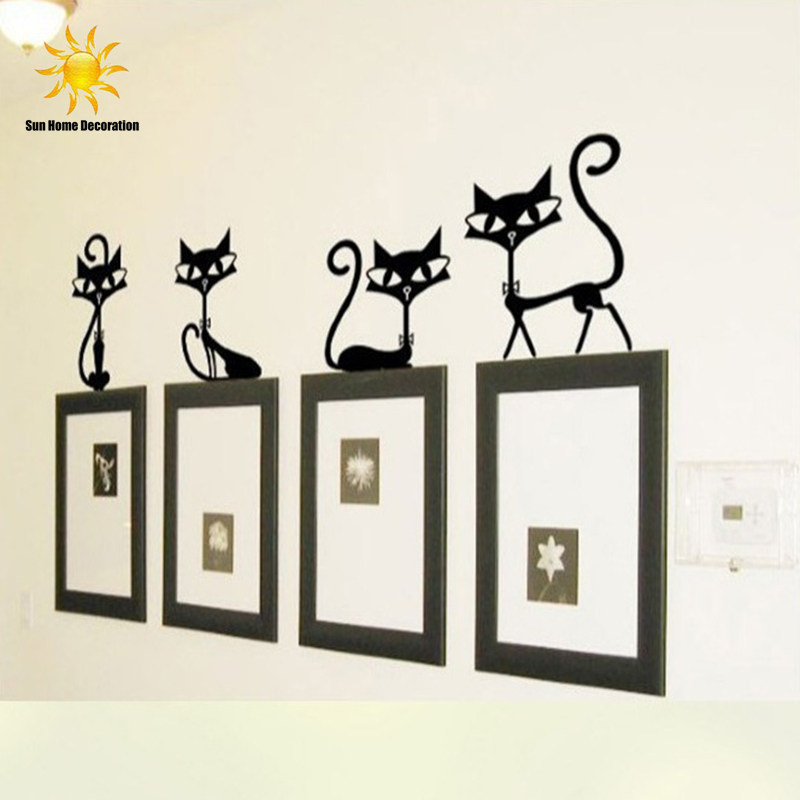 Fashion Wall Decor aliexpress : buy 4 black fashion wall stickers cat stickers