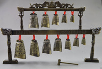 High Quality ! ! Collectibles Decorated Old Copper Dragon Belle Bell Instrument decoration Tibetan Silver word Wholesale bronze