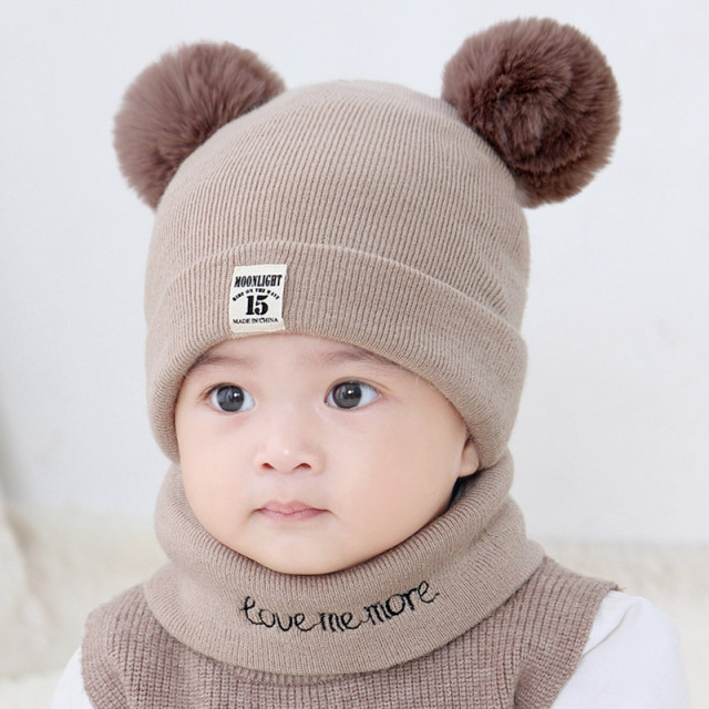Baby Winter Hat Knit Warm Toddler Hats Scarf Boys Girls Baby Pom Pom Hat  Children s Kids Cap Accessories 0-12M Newborn Costume 3373f14b0ca