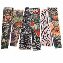 1Pcs Fake Tattoo Elastic Arm Sleeve Arms Stockings Sun Protective Temporary Tatoos Sport Skins Men Women