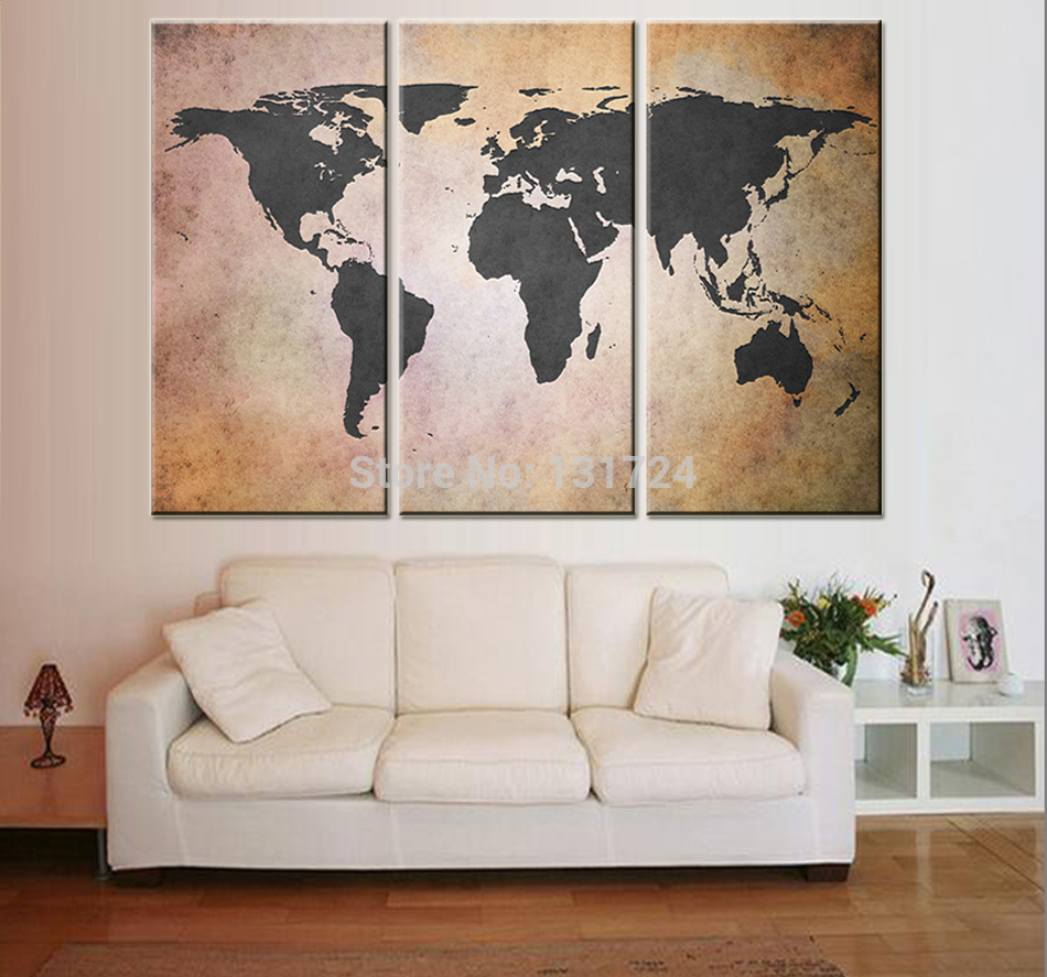 City picture canvas painting 3 piece retro world map for 3 piece wall art