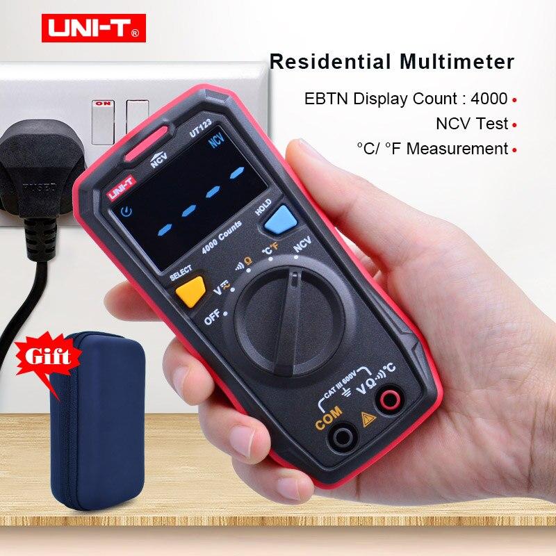 UNI-T UT123 Mini Multímetro Digital; retenção De Dados AC DC Volt medidor; Temperatue Ohm tester; NCV/Teste de Continuidade com EBTN Ecrã a Cores
