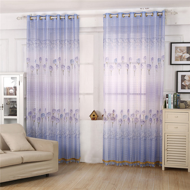 Pretty Blue Rose Pattern Bedroom Living Room Window Curtain Finished  Products Door Cloth Curtain + Bead