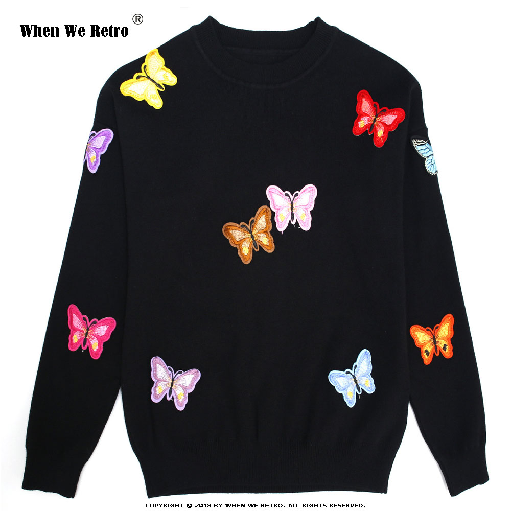 When We Retro Women Winter Embroidery Sweater Knitted Pullovers Casual Loose Sweater Printed Butterfly Animal Sweater Tops YC24