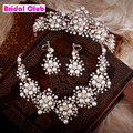 2015 Spring New Design Flower Crystal Pearl Bride 3pcs Set Necklace Earrings Tiara Bridal Wedding Jewelry Set Accessories