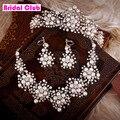 2015 primavera nuevo diseño de la flor perlas cristal de novia 3 unids conjunto collar pendientes Tiara nupcial joyería de la boda accesorios