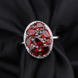Image 2 - GEMS BALLET Natural Garnet Earrings Ring Set 925 Sterling Silver Gemstone  Vintage Jewelry Set For Women Gift Fine Jewelry