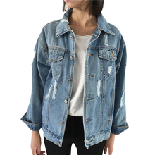 Spring Autumn Denim Jacket Women Basic Coats 2017 New Vintage Long Sleeve Loose Female Jeans Coat Casual Girls Outwear AB341