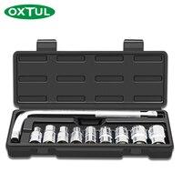 OXTUL 10PCS Professional Mechanical Auto Car Repair Tools Set Kit Socket General Home Household CR V Steel Hand Tools +Toolbox