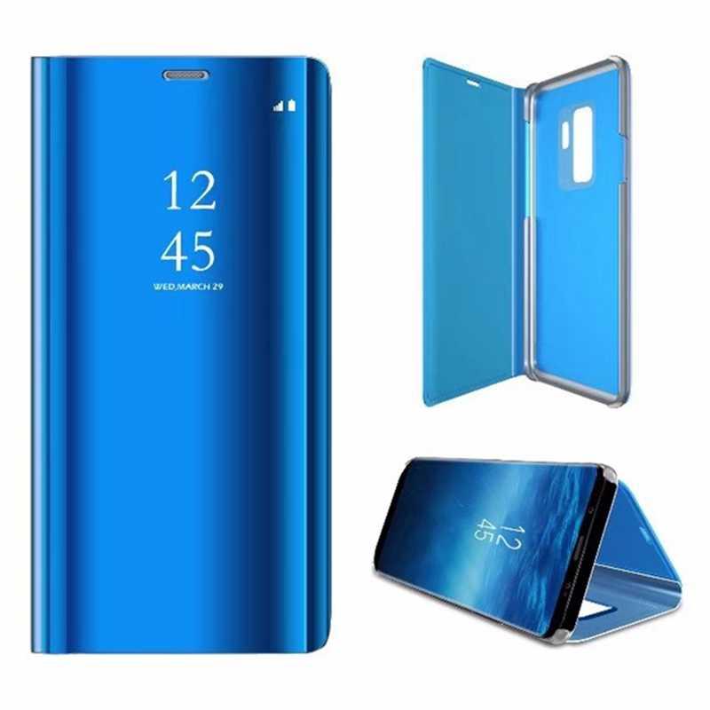 Funda de cuero con espejo transparente de lujo funda para Samsung Galaxy S9 S9 + S7 S8 + Note 8 Smart Mirror para S7 S6 Note8 J3 J5