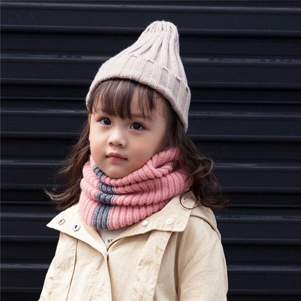 VISROVER/вязаный шарф для девочек и мальчиков, детское кольцо с полосками, безграничный снуд, Детские кашемировые шарфы, Круглый теплый шарф на шею - Цвет: 2