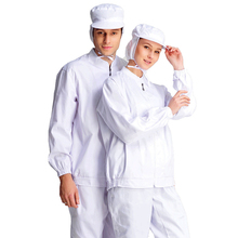 2018 Long Sleeved anti-static Workwear Suit Cleanroom Garments For Men Women Split Protective Overalls Work Uniform with Hat(China)