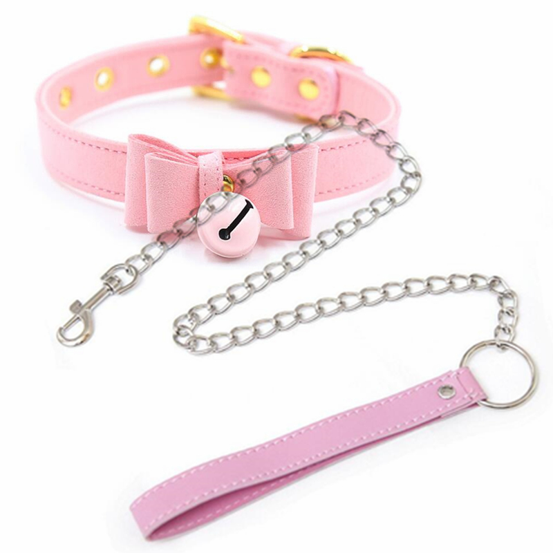 BDSM Bondage Necklace Collar For Women Bell Choker Adjustable PU Leather Dog Collar Metal Lead Chain Sex Toys For Couples