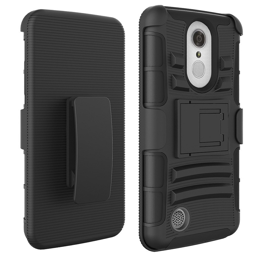 Hybrid Shockproof Holster Clip Kickstand Case Cover For Lg Aristo Lv3 V3 Ms210 Clear-Cut Texture Cases, Covers & Skins Cell Phone Accessories