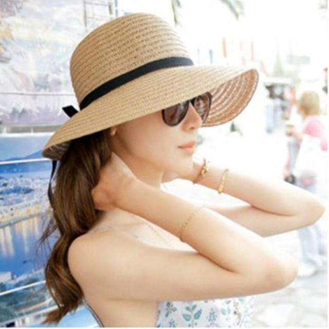 Fashion Beautiful Adult cap Bow Straw hat Summer Sun Beach Sun caHat Girl  Women caHat sun hats for women kentucky derby hat f869cab4ff0