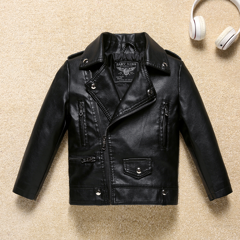 AD сплошной черный кожаный пиджак для мальчиков классная Детская куртка-бомбер одежда для детей
