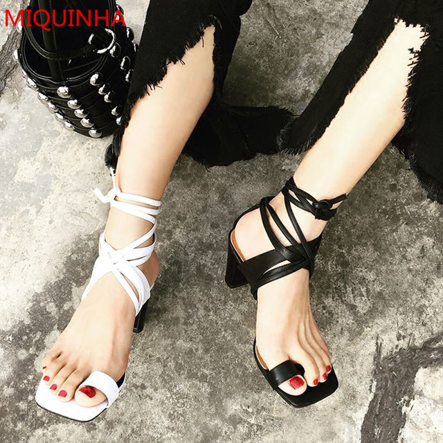 43d5341eb3e White Black Contrast Color Leather Square Toe Women Thong Sandals Block  Heel Ankle Strappy Simple Lace Up Gladiator Sandals Shoe