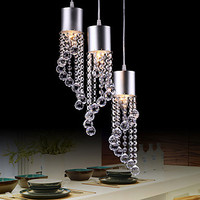 Modern/Contemporary Crystal Dainty 3 Lights Pendant In Wave Shape E12/E14 For Game Room, Kids Room, Bathroom, Living Room