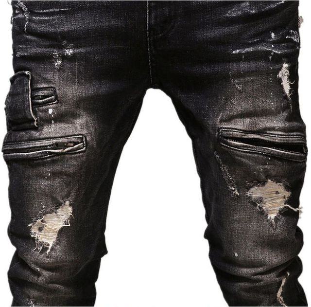 Ripped jeans Hip-hop jeans men's hole straight jeans brand Kanye West pants David Beckham style