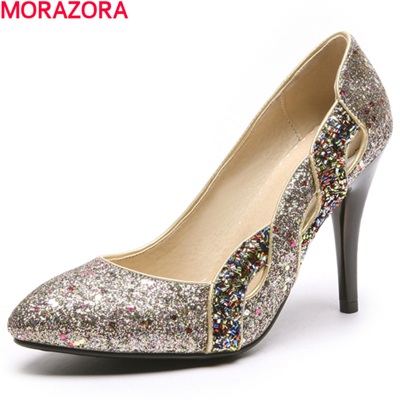 MORAZORA 2018 spring summer women pumps glitter top quality party shoes Shallow mouth wedding shoes glitter cami top