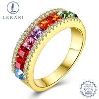 LEKANI Crystal From Swarovski S925 Sterling Silver Ring Fashion Colorful Charm Ring Wedding Birthday Gift Fine Jewelry
