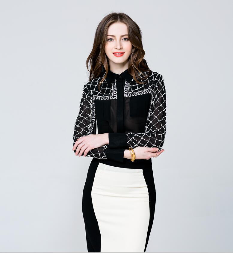 Hand Make Pearl Black Fashion Top Lace Mesh See Through Tank Tops 2018 New Office Lady Work Clothing HY 23