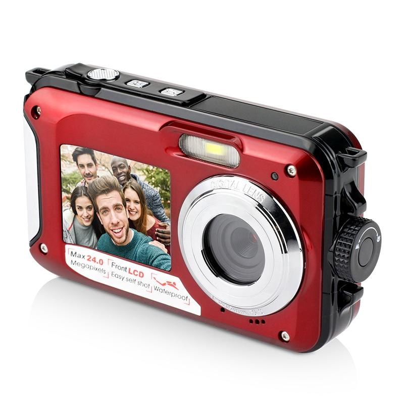 Dual Screen Digital Waterproof Camera/Camcorder 1080P 2400W Pixel 16X Digital Zoom Hd Self Timer Face Detection|360° Video Camera| |  - title=