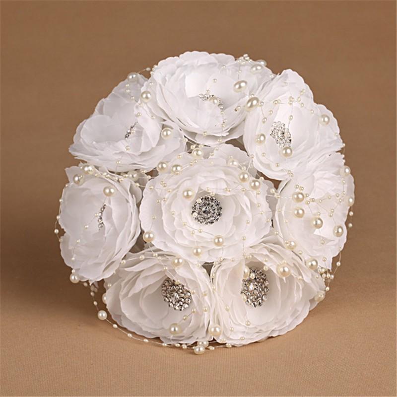 Elegant Bridesmaid Flower Wedding Bouquet Artificial Buquet de noivas Handmade White Beaded Bridal Bouquets Brooch (3)