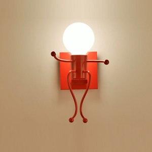 Image 3 - LED קיר אור קטן ברזל איש רכוב על קיר אור E27 בסיס Creative ילדים תינוק חדר שינה מסדרון קיר לילה אור ללא הנורה #