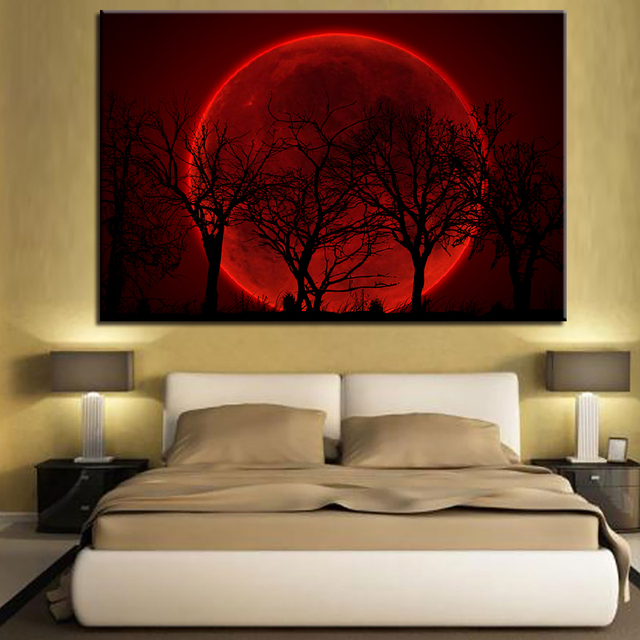 5421273da51 Home Decor Canvas HD Print Pictures Wall Art 1 Piece Pcs Red Moon Night  Psychedelic