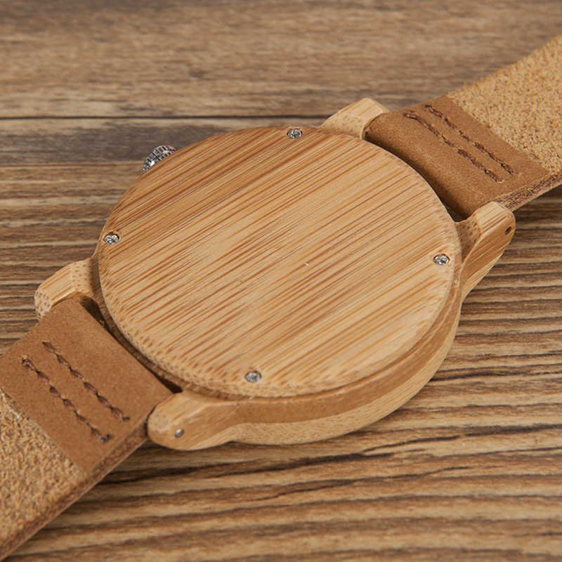 BOBO BIRD relojes para hombre, relojes de lujo para mujer, relojes de pulsera de madera de bambú con correa de cuero, reloj masculino, envío directo