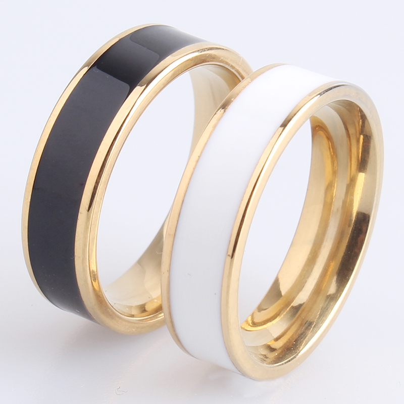 6mm golden black white oil stripes 316L Stainless Steel finger rings for men women wholesale jewelry