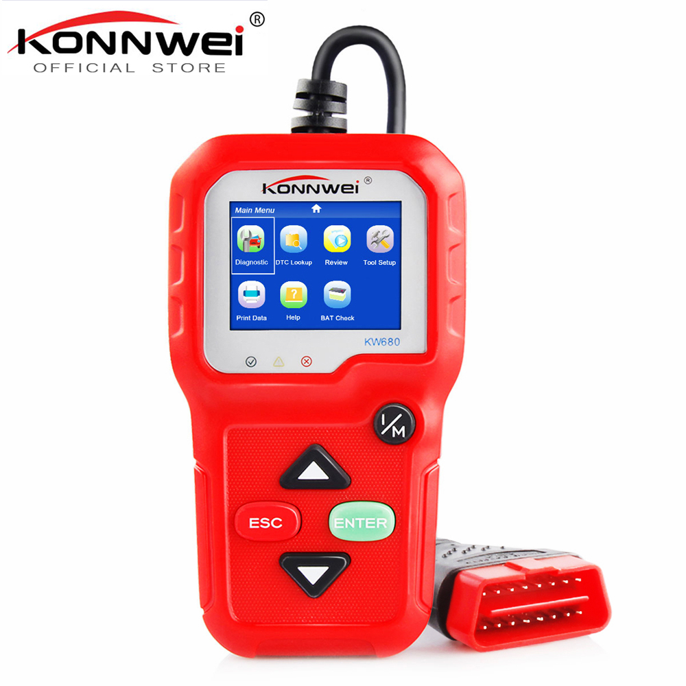 100% Original OBD2 Scanner Automotive Scanner KONNWEI KW680 OBD 2 EOBD Car Diagnostic Scanner Fault Error Code Reader Scan Tool