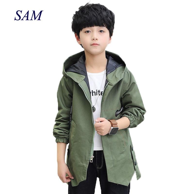 Осень 2019, новые модные куртки с длинными рукавами для больших мальчиков, детский Тренч на молнии с капюшоном и лентой, одежда для детей, верхняя одежда