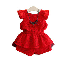 Kids Girls Clothing Sets Summer New Style Red Baby Girls Clothes short Sleeve T Shirt+Pant 2Pcs Children Clothes Suits